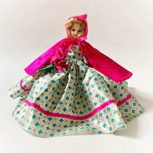 VTG 40s-50s Plastic Pink Red Riding Hood Doll